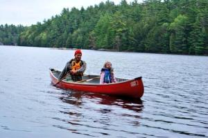 paddle in canoe with daughter