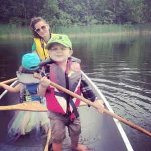 paddle in with kid and wife